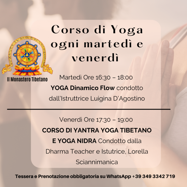 Corso di Yoga Ogni Martedì e Venerdì