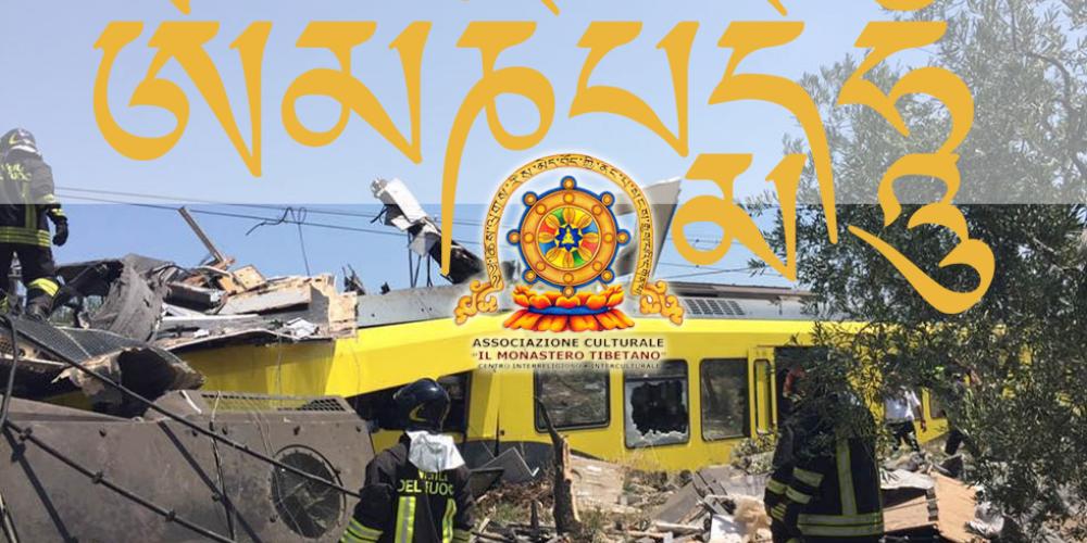 Oṃ Maṇi Padme Hūṃ per le vittime dell'incidente ferroviario in Puglia